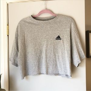 Adidas vintage grey cropped short sleeved T shirt